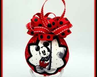 Mickey and Minnie Mouse Ornament, Mickey and Minnie Mouse Inspired Quilted Ornament