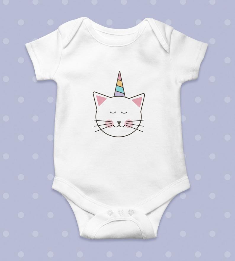 FanYe Unisex Baby Onesies Im Happy Unicorn cat Long Sleeve Infant Bodysuit