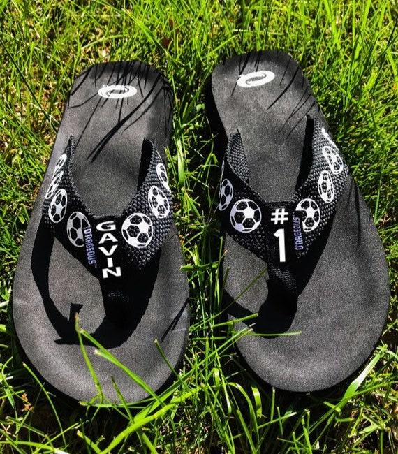 42cc0e942d8f3e Personalized soccer flip flops soccer flip flops soccer