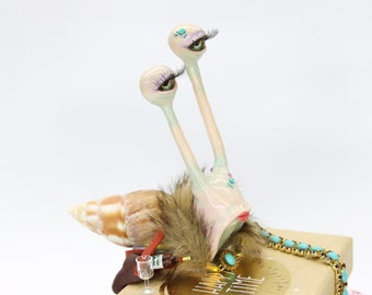 Wine Drinking Vineyard Snail as Edge Stool, Polymer Clay Figurine, OOAK Figurine, Art Figure with Character, Snail Figure Humorous