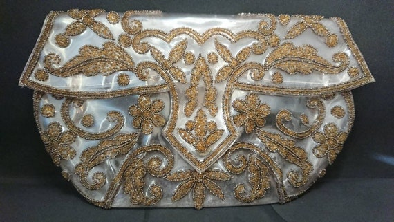 1940s Soft clear plastic and beaded clutch bag.