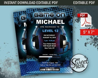 Instant Download Gamer Birthday Invitation, Video Gamer Invite Theme, Personalized Party Invite, 5x7 Editable PDF Printable Invitation