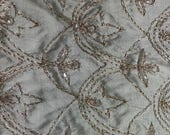 1 yd Remnant - 100 Silk Taffeta w Beading and Embroidery 52 quot w Champagne