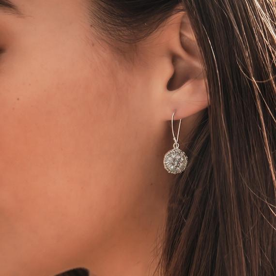 SPIRA Handmade Green Roman Glass Stone 925 Sterling Silver Drop//Dangle Earrings
