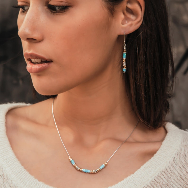 SPIRA Handcrafted 925 Sterling Silver and 14K Yellow Gold Filled Blue Opal Stone Rope Chain