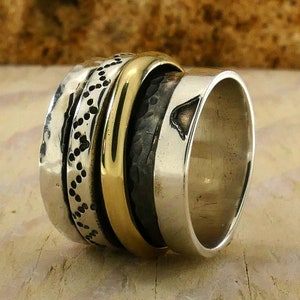 SPIRA Handcrafted Contemporary Design Two Tone Solid 9k Yellow Gold And 925 Sterling Silver Spinner Ring