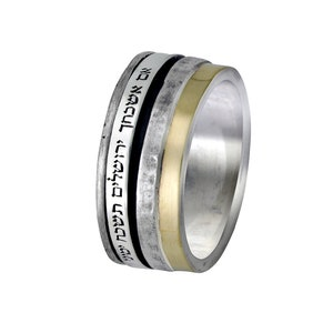 SPIRA Handcrafted Black Ceramic Two Tone Solid 9k Yellow /& Rose Gold 925 Sterling Silver Spinner Ring Set Setting