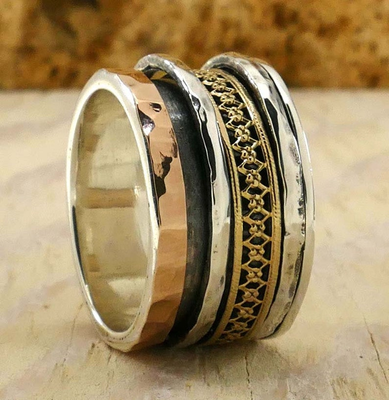 SPIRA Handcrafted Vintage Design Two Tone Solid 9k Yellow /& Rose Gold And 925 Sterling Silver Spinner Ring