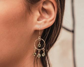 4.8 Carat Natural Green Peridot Gemstones 14k Yellow Gold Filled Drop/Dangle Earrings 2-Day US Shipping FREE!
