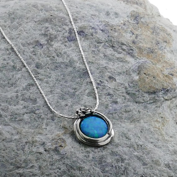 SPIRA Handcrafted Two Tone 925 Sterling Silver And 14k Yellow Gold Filled Blue Opal Rope Pendant Chain Fast N Free Shipping!