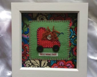Handmade Best Mum Gift - Mother's Day Gift in Frame - Vintage Pattern - Textile Artwork