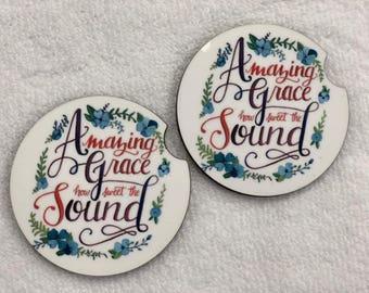 Amazing Grace  Custom Sandstone Car Coasters 2-Set monogram, mothers day, birthday,  personalize, Christian