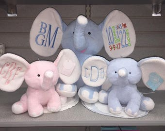 PINK Elephant 8 inch inch plush stitch monogram baby gift birth stats baby shower