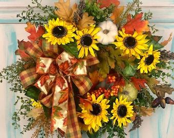 Fall Floral Wreath, Fall Decor, Fall Wreath for Front Door, Sunflower Wreath