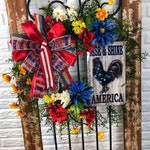 Farmhouse Patriotic Rooster Wreath, Summer Wreath for Front Door, Patriotic Wreath, July 4th Wreath