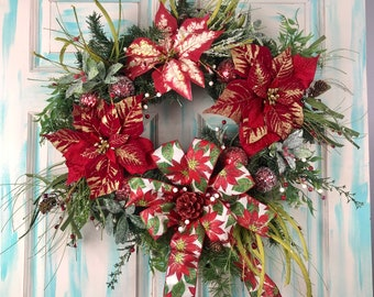 Christmas Poinsettia Red Wreath Holiday Decor, Christmas Wreaths Front Door Decor, Holiday Wreath, Front Door Wreaths