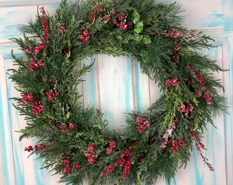 Red Berry Winter Christmas Wreaths For Front Door, Holiday Wreaths for Front Door, Winter Wreath Front Porch Decor