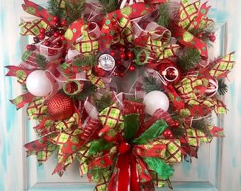 Christmas Wreath, Christmas Wreaths for front door, Christmas Door Decor, Holiday Decorations