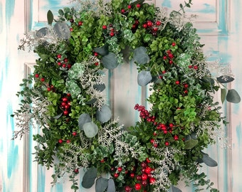 Red Berry Wreaths, Christmas Wreath, Holiday Wreaths for Front Door, Winter Wreath, Winter Decor, Greenery Wreath