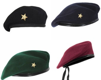 7dfe3b60fc9 Men Black Cool Mix Wool Indian Military Special Force Army Artist Hat Cap  Beret