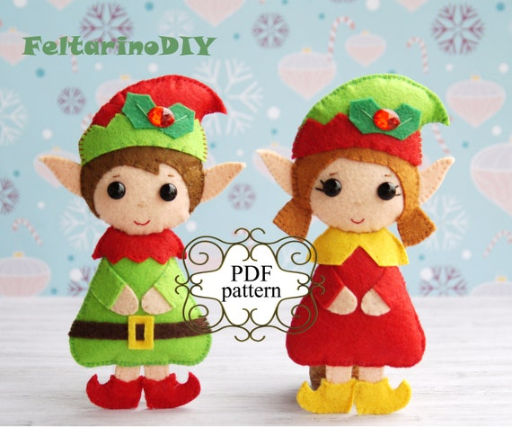 Christmas Elf Pattern Felt Christmas Elf Pattern Felt Etsy Gorgeous Elf Pattern