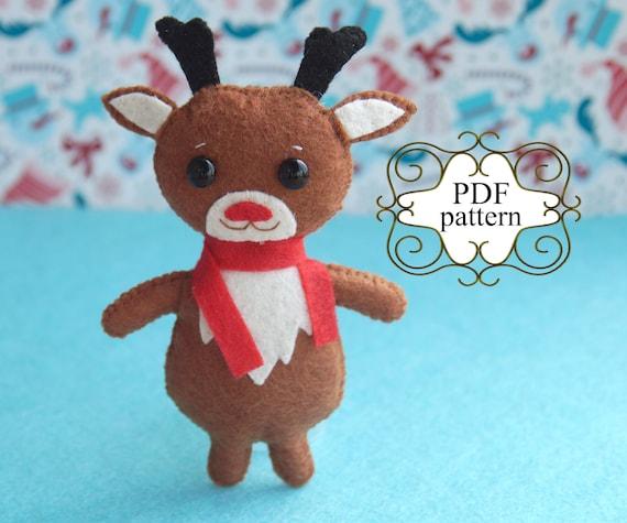 Christmas Felt Pattern Felt Deer Pattern Reindeer Felt Etsy