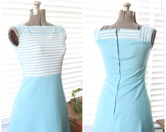e2d21f3665f 1970s Blue and White Striped Sears Maxi Dress