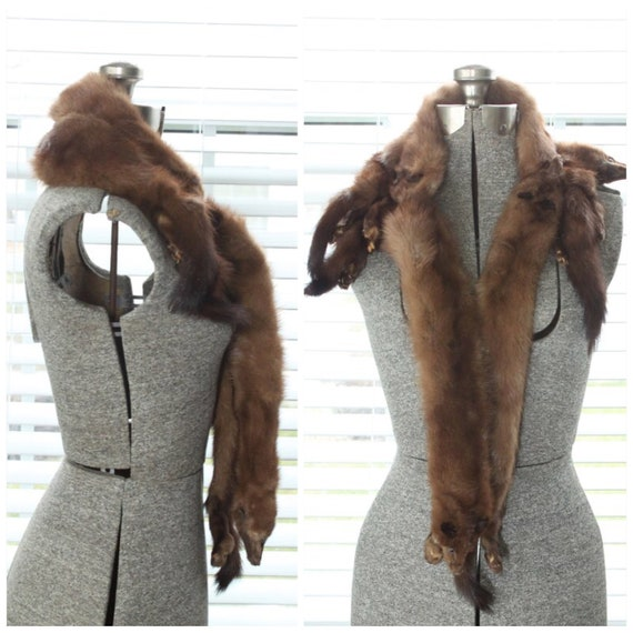 1940s Red Mink Stole/Scarf