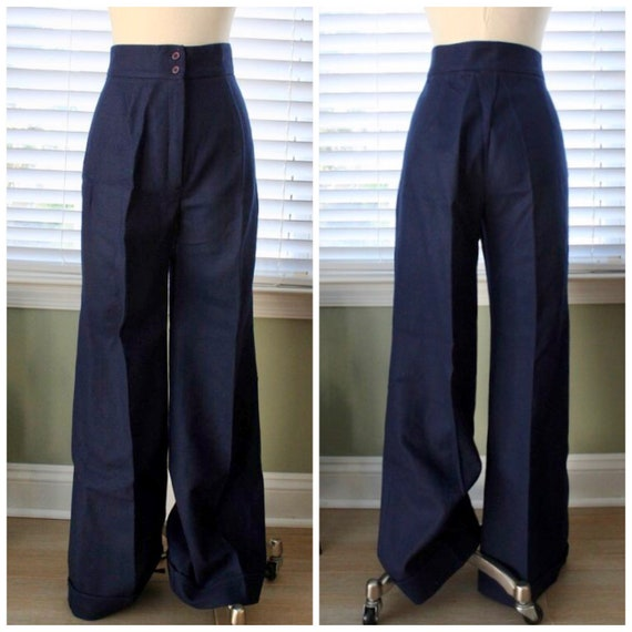 1970s Navy Wool Bell Bottoms