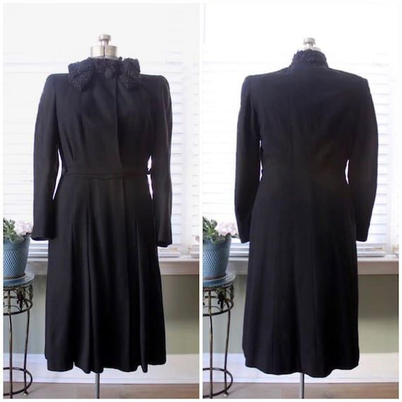 1930s-1940s Black Wool Princess Coat with Persian