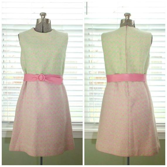 1960s Mod Green and Pink Wool Mini Dress