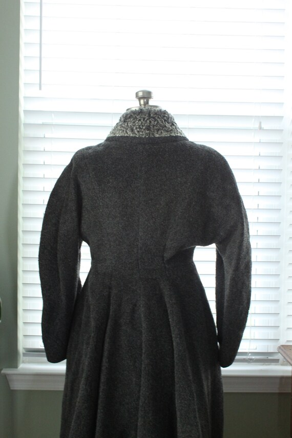 1950s Graphite Gray Princess Coat with Persian La… - image 9
