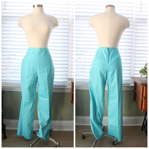 1960s Aqua White Stag Cigarette Pants
