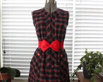 1960s Plaid Shift Dress