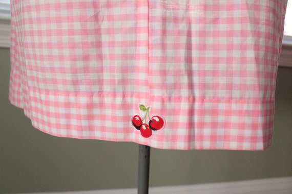 1960s Pink Gingham And Cherry Dress - image 7