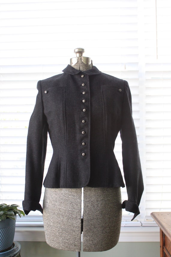 1940s Charcoal Suit Jacket with Metal Buttons