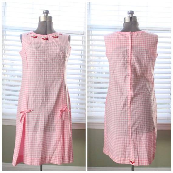 1960s Pink Gingham And Cherry Dress