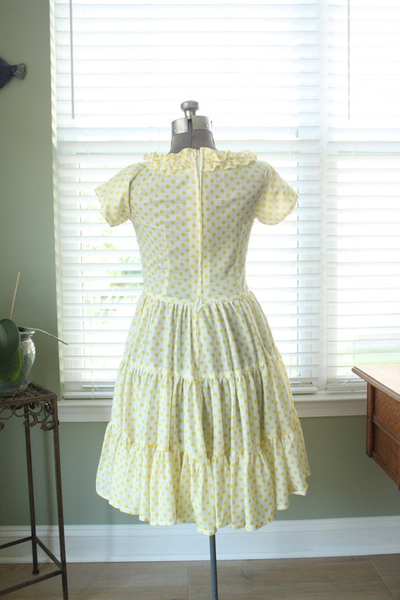 1960s-1970s Yellow Polka Dot Country Dress - image 7