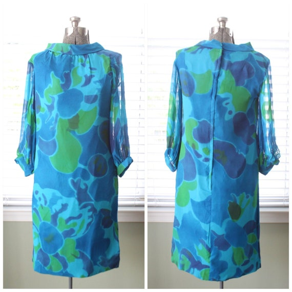 1960s Chiffon Green, Blue and Turquoise Abstract P