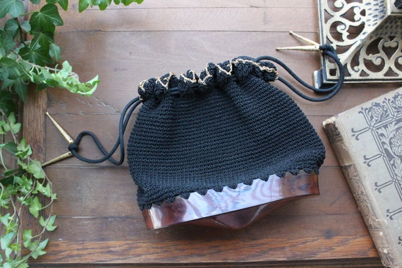 1940s Crochet Drawstring Purse with Tortoiseshell