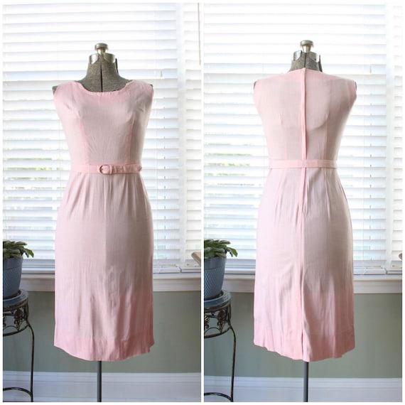 1940s-1950s Pink Linen Jerry Gilden Wiggle Dress