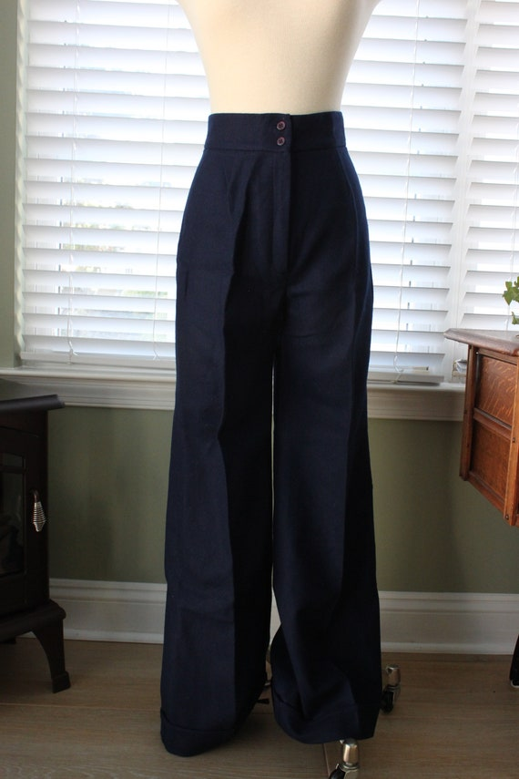 1970s Navy Wool Bell Bottoms - image 3