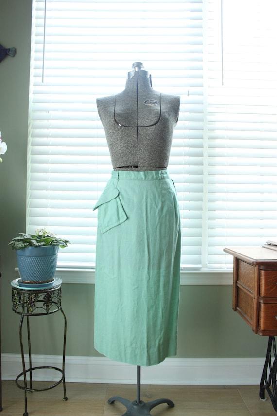 1940s Mint Green Linen Skirt with Asymmetrical Poc