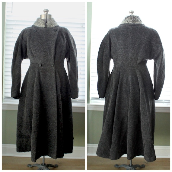 1950s Graphite Gray Princess Coat with Persian Lam