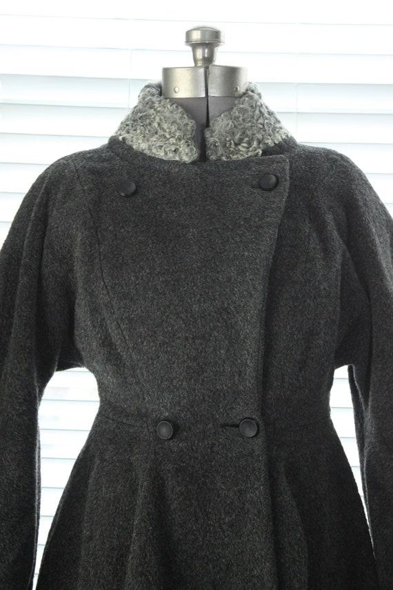 1950s Graphite Gray Princess Coat with Persian La… - image 5
