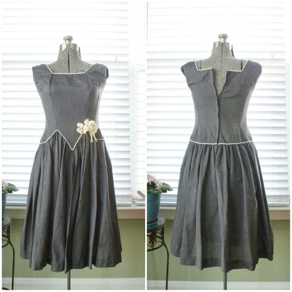 1950s Gray Chambray Dropwaist Dress with Millinery