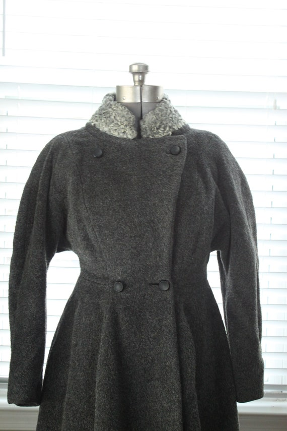 1950s Graphite Gray Princess Coat with Persian La… - image 3