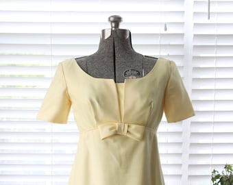 Late 1960s Empire Waist Gown in Pale Yellow