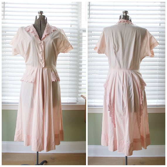 1940s Pale Pink Cotton Shirtwaist Dress