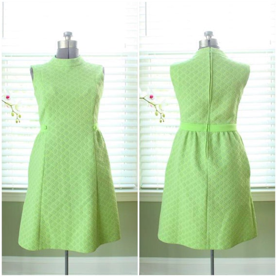 1960s Polyester Green Lame Mod Wiggle Dress